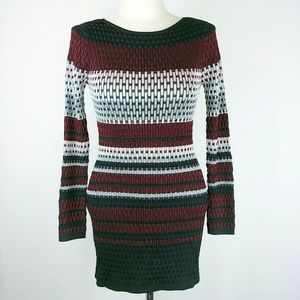 WHBM Striped Short Sweater Dress Boat Neck M